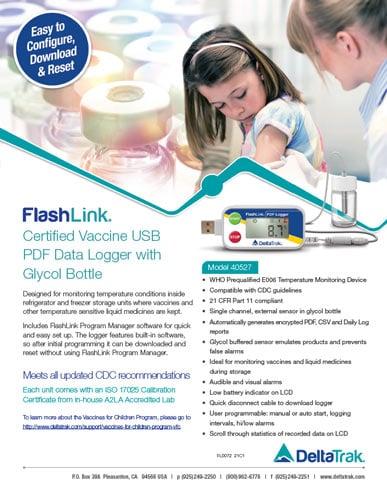 FlashLink Certified Vaccine USB PDF Data Logger Flyer