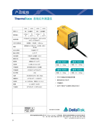 On-Line Infrared Thermometer Spec Sheet