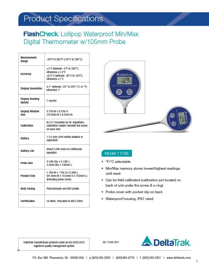 FlashCheck Lollipop Waterproof Min/Max Digital Thermometer w/105mm Probe