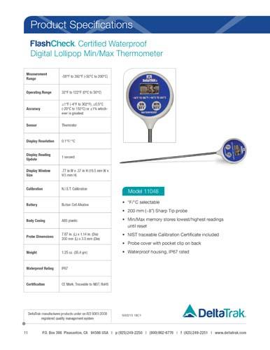 FlashCheck Certified Waterproof Digital Lollipop, Min/Max Probe Thermometer