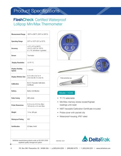 FlashCheck Certified Waterproof Digital Lollipop, Min/Max Probe Thermometer
