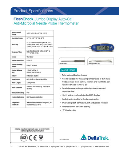 FlashCheck Jumbo Display Auto-Cal Anti-Microbial Needle Tip Thermometer