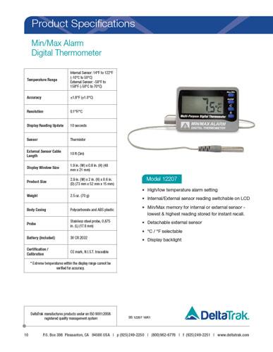 Min/Max Alarm Digital Thermometer