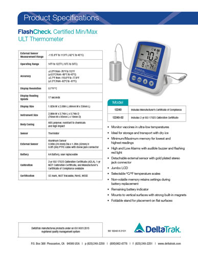FlashCheck Certified Min-Max ULT Thermometer