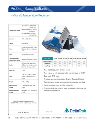 In-Transit Temperature Chart Recorder