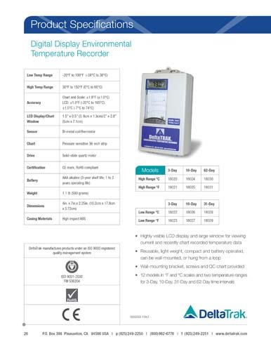 Digital LCD Environmental Temperature Chart Recorder