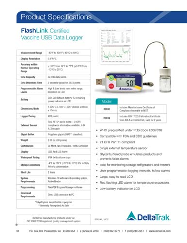 FlashLink Certified Vaccine Data Logger with Glycol Bottle