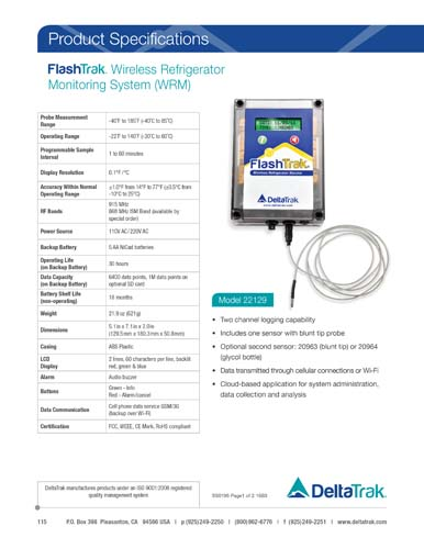 FlashTrak Wireless Refrigerator Monitor (WRM)