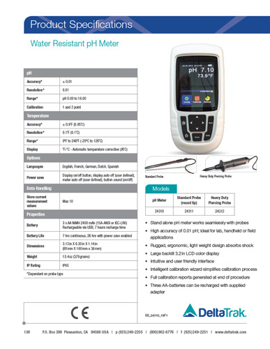 Water Resistant pH Meter