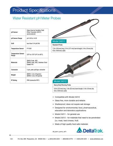 Water Resistant pH Meter Probes