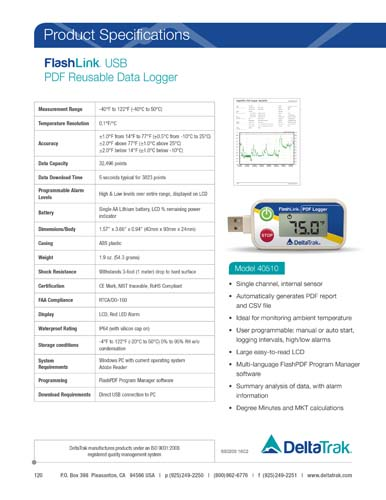 FlashLink USB PDF Reusable Data Logger, Model 40510