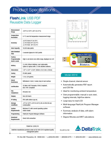 FlashLink  USB PDF Reusable Data Logger, Model 40516
