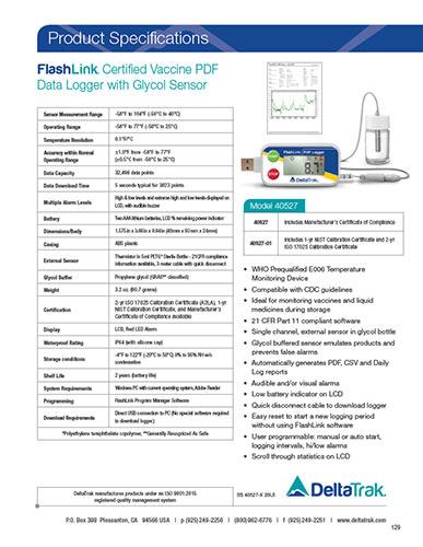FlashLink Certified Vaccine USB PDF Data Logger Spec Sheet