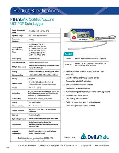 FlashLink Certified Vaccine ULT Data Logger