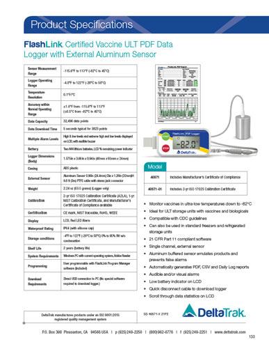FlashLink Certified Vaccine ULT PDF Data Logger with External Aluminum Sensor