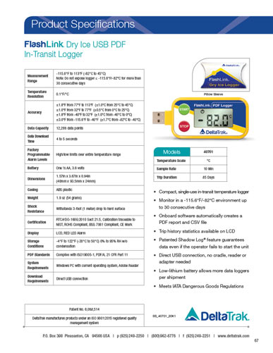 FlashLink Dry Ice USB PDF In-Transit Logger