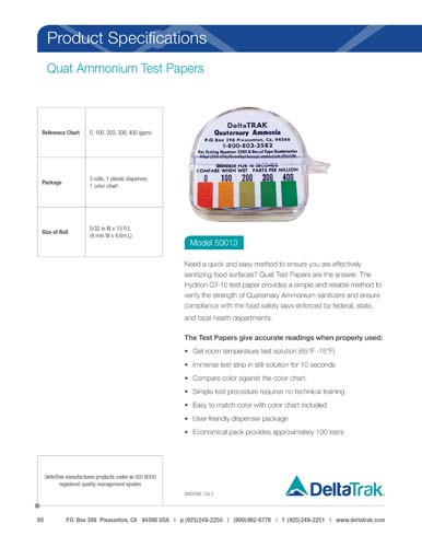 Quat Ammonium Test Papers
