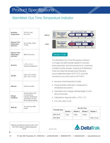 WarmMark Duo Time-Temperature Indicator