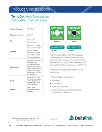 TempDot High Temperature Dishwasher Thermal Labels