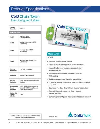 Cold Chain iToken 55106 Spec Sheet