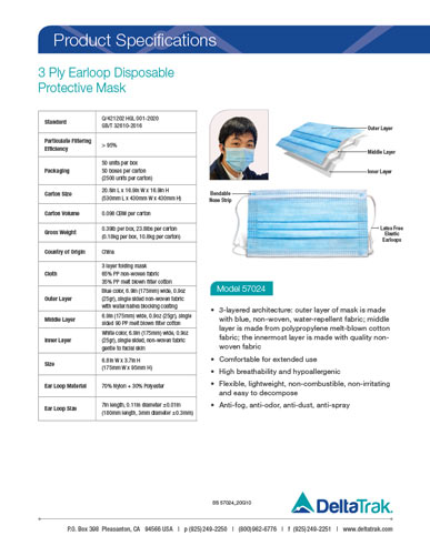 3 Ply Earloop Disposable Protective Mask