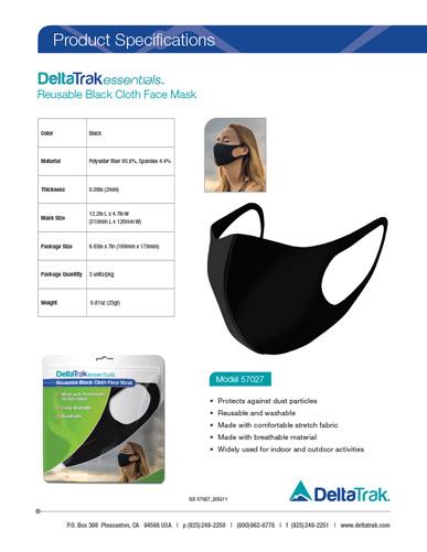Reusable Black Cloth Face Mask